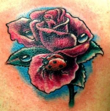 Цветная тату на спине девушки - роза и божья коровка