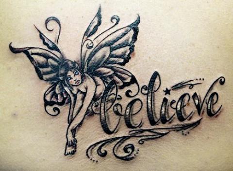 Татуировка на пояснице - фея