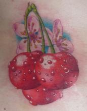 Цветная тату на животе девушки в виде цветков и ягод сакуры