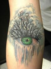 Тату зеленого глаза на руке