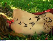 Тату для девушек бабочки на спине